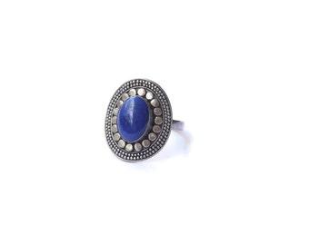 Vintage Boho Sterling Silver and Lapis Lazuli Ring