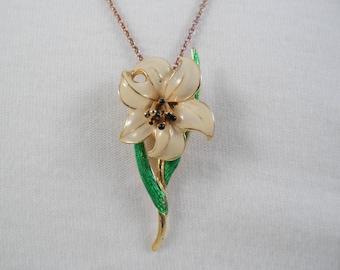 Elegant Floral Enameled Pendant Necklace