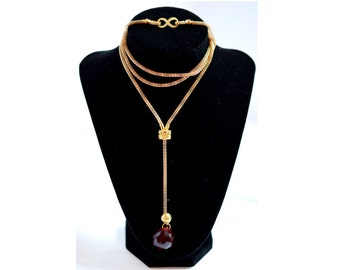 Wedding Gift - Long Gold Chain Evening Statement Y-Shaped Necklace, One | Gold Chain & Ruby Dark Deep Red Crystal Pendant valentine