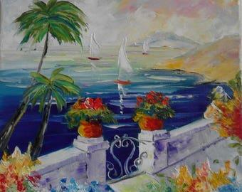 Mediterenian seascape 2 Original Oil Painting 30/30 sm