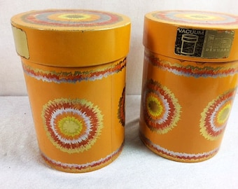 Retro Orange And Gold Tin Canister Set Ira Denmark 6.5 Inches