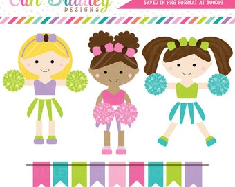 Cheerleaders Clipart Set Personal & Commercial Use Clip Art Graphics Instant Download