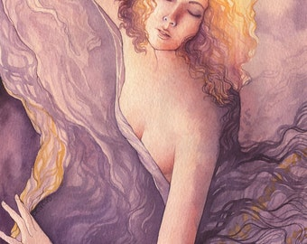 "Spiritual Watercolor Goddess Painting ""Unfolding"" ARCHIVAL ART PRINT 8x10"