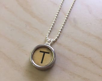 Letter T Typewriter Key Jewelry Charm Necklace. Light beige Initial T.  NO GLUE. Sterling silver.