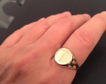 Signet Ring, Engraved Personalized Ring, Pinky ring, gold letter ring, unisex ring, Initial ring, Gift for him/her, letter customized Ring