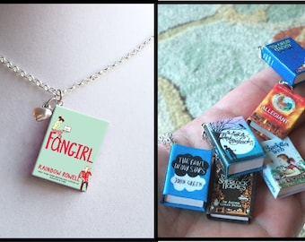 Fangirl with Tiny Heart Charm -Micro Mini Book Necklace