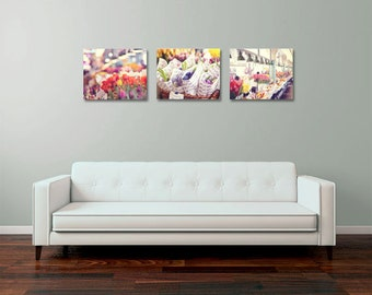 Pike Place Market Photo - Seattle Photo - Flower Photo - Flower Decor - Ready to Hang - Set of 3 - Wrapped Canvas - Home Decor