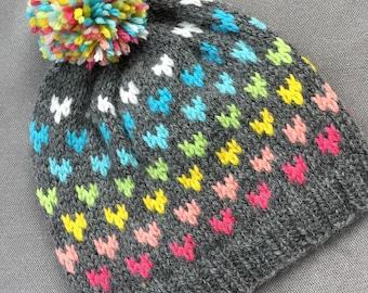HANNAH: Handknit hat, rainbow hearts, pompom, large child/teen/adult size