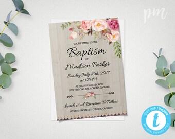 Printable Baptism Invitation Template, Christening Invite Template, Instant Download Baptism Invite, Girl Baptism, Floral Baptism