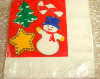 Set of 16 Christmas Paper Napkins, Hallmark, 3 ply, Christmas Tree, Star, Snowman, Candy Cane  (941-14)