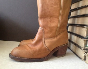 1970s Leather Riding Boots Cognac Brown Knee High Campus Boots 6  6,5 US