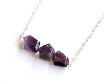 Amethyst Sterling Necklace Natural Stone February Birthstone Sterling Chain Geometric Amethyst Quartz Minimal Purple Necklace Violet #18654