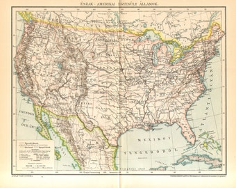 1893 Antique Map of the United States