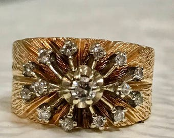 14k Starburst Diamond Ring