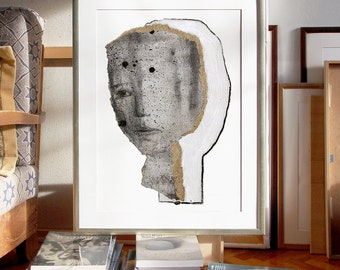 Woman Art Portrait, Oversized Wall Art, Extra Large Print, Poster Size Artwork, Modern Home Decor of Big Drawing
