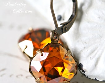 Swarovski Cushion Cut Earrings, Copper Earrings, Estate Style Earrings