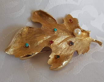 Genuine Pearl Gold Leaf Brooch Marked Capri, Capri Leaf Brooch, Genuine Pearl Brooch, Brooch