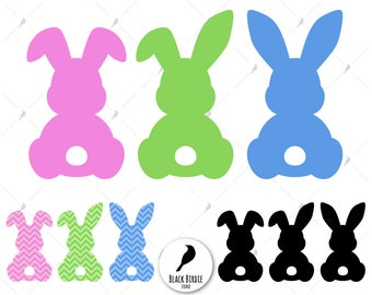 Bunny svg, three easter bunnies svg, easter svg, easter clipart, chevron bunny svg, bunny clipart cricut – eps dxf png pdf svg digital files