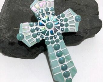Aquamarine Mosaic Cross, Gift from Godparent, Baptism Gift Goddaughter, Mosaic Cross, Unique Baptism Gift, Christening Gift, First Communion