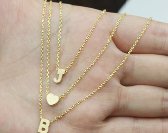 triple initial chain necklace,letter jewelry,personalized necklace,Triple Layered Gold initial necklace,,three chains personal charm jewelry