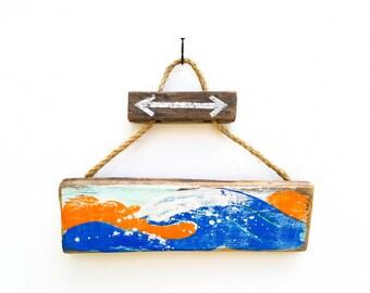 Personalize This Original Art Item-Ocean Waves Beach Sign Mangoseed Christina Rowe