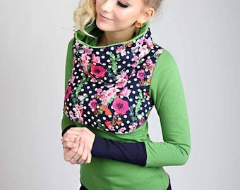 """MEKO """"Koschl"""" hoodie green pink green rose yellow blue dots Flower"""