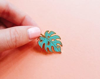 monstera leaf hard enamel pin valentine gift for mom mint gold lapel pin botanical brooch tropical leaf pin plant lady valentines day