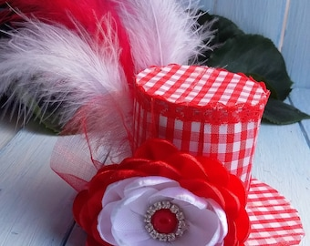 Mini Top Hat Headband Red Mini Top Hat Birthday Mini Top Hat Mad Hatter Hat Tea Party Hat Alice in Wonderland Top Hat Fascinator Baby Shower