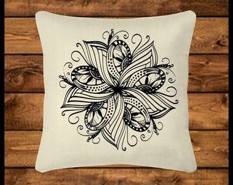 MANDALA FLOWER - Burlap-look Canvas Pillow, Throw Pillow, Custom Pillow, Pillow Cover, Wedding Gift, Housewarming, Home Decor, Home Gifts