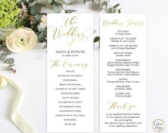 Gold Wedding Program Editable Template, DIY Wedding Program, Wedding Program Printable, Gold Ceremony Printable, PDF Instant Download GW180