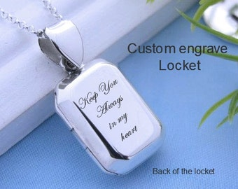 Laser Engrave custom Quote Message Date.... Sterling Silver Locket Necklace, Personalized Rectangular Locket. Choose chain. R-30