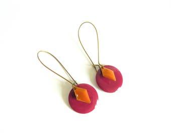Colorful purple & yellow - bronze earrings - great sleeper