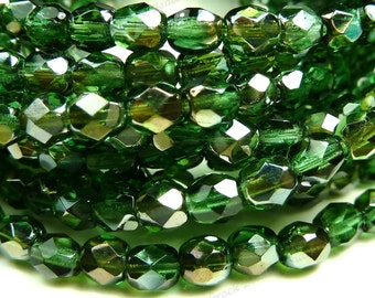 4mm Prairie Green Celsian Czech Glass Beads - 8 Inch Strand (50pcs) - Round, Faceted, Fire Polished - BD46