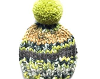 Knit Hat, Pom Pom Hat, Green Knit Hat, Olive Green Pom Pom Hat, Colorful Knit Hat, Knit Beanie, Mommy & Me Hat, Fall Hat, Winter Hat