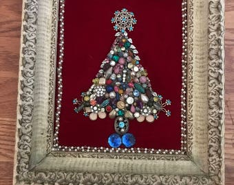 Christmas Tree art with Vintage Costume Jewlery
