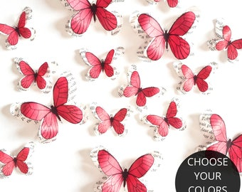 Coral paper butterflies, wedding reception decorations, baby shower decorations, 3d wall art nursery, butterfly wall decals for baby girl