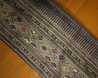 Antique vintage Lao textile - asian tribal textile - bottom decoration from sarong - Isan/ Lao weaving piece - recycled textile