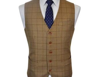 Men's Waistcoat in Light Brown Check