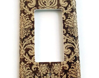 Rocker Switch Plate Light Switch Cover Wall Decor Light Switchplate  in Brown and Cream Damask (221R)