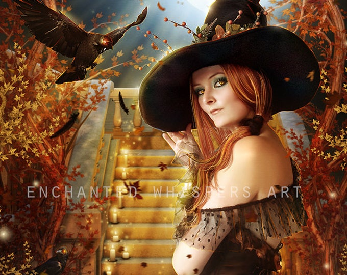 sexy Halloween Witch art with crow and pumpkins art print