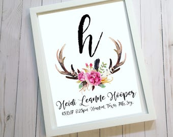 Antlers/Flowers Name/Birth Stat Girl Nursery Room/Invitations/ Weddings/Couples Household Frame Decor