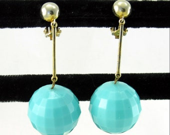 Turquoise Disco Ball Long Drop Earrings; Vintage Cool Mod Bold Big Ball Dangle