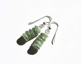 Green Kyanite Earrings Serling Silver Earrings Light Green Earrings Spring Green Minimal Simple Rondelle Dangle Gemstone Earrings #17552