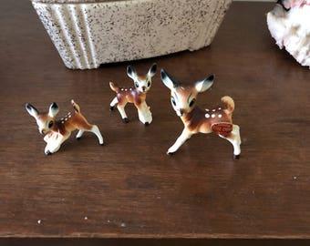 Bone China trio of deer figurines
