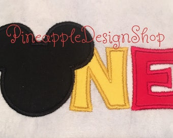 One Birthday Mickey Mouse applique design