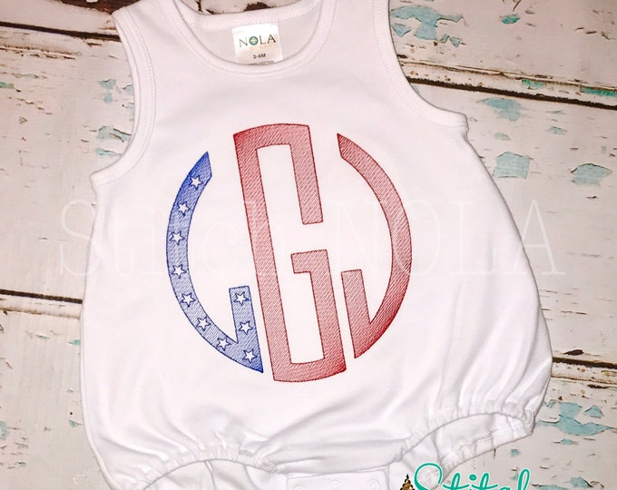 Featured listing image: FAST SHIP!! Sketched Circle Monogram Tee or Bodysuit, Patriotic Monogram, Fourth of July Applique, Patriotic Shirt, Flag Monogram, Flag Shir