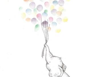 Baby Elephant holding a bundle of Balloons, Fingerprint Guest Book, Shower, Birthday, Party, Art, Pen, Ink, Custom Printable Design