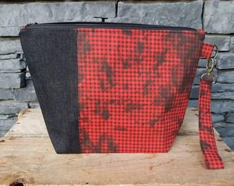 Project Bag | Knitting Bag | Knitting Project Bag | Zippered Project Bag | Wedge Bag | Shawl Knitting Bag | Bag Bling Gingham | Black & Red