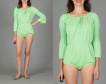 60s Neon Green Romper
