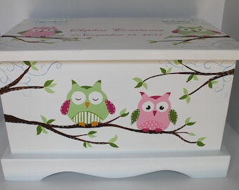 Baby Keepsake Box - Owl Keepsake Chest  green/pink baby memory box personalized baby shower gift hand painted